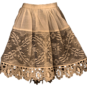 SOLD Antique Eggshell Color Cotton and Lace Doll Slip