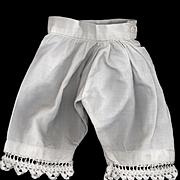SALE PENDING Antique White Cotton Doll Pantaloons with Crochet Edge
