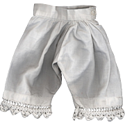 SOLD Antique White Cotton Doll Pantaloons with Crochet Edge
