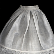 SALE PENDING Antique White Cotton Doll Slip with Eyelet Flounce