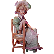 SALE Antique Victorian Gebruder Heubach Porcelain Lady Sitting in Chair