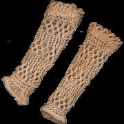 SOLD Antique Ecru Cotton Crochet Doll Arm Sleeves