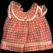 SOLD Vintage Peach Cotton Print Doll Dress