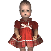 SALE Vintage Red and White Check Doll Dress
