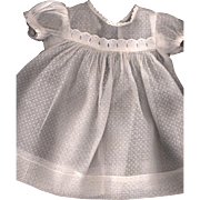 SOLD Vintage White Organdy Dotted Swiss Doll Dress