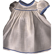 SOLD Vintage White Doll Dress with a Shadow Stripe
