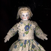SALE PENDING Antique Blond China Head Doll in Old Cotton Print Dress and Bonnet