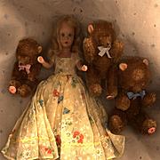 SALE PENDING Vintage East Germany Mohair Bears and Nancy Ann Storybook Doll