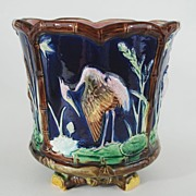 Antique Majolica Jardiniere Paneled with Stork Motif