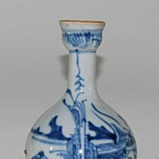 Antique Porcelain Canton Blue & White Bottle Vase