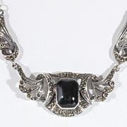 Lady's Sterling Silver Marcasite & Black Onyx Pendant, Vintage