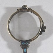 Antique Enamel & Sterling Silver Belle Lorgnette, (Eye Glasses)