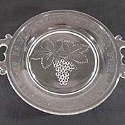 Antique Pressed Glass Pie Plate - Grapes