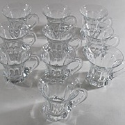 10 Heisey Punch Cups with Handles, Vintage