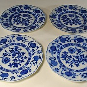 Antique Holland Johnson Bros. Flow Blue Onion Pattern Plates