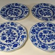 Antique Holland Johnson Bros. Flow Blue Onion Pattern Plates