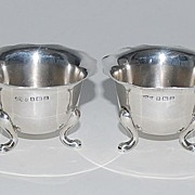 Set of 4 Sterling Silver Burmingham Footed Salts, Vintage
