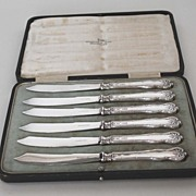 Antique Set of Six (6) Sterling Silver Fruit Knives, Walker & Hall, English