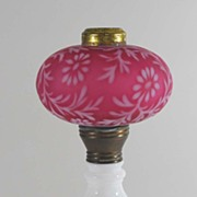 Antique Cranberry Satin Glass Lamp, Fenton