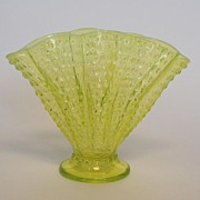 Topaz Opalescent Fenton Vase, Vintage
