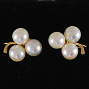 14K Gold Pearl Earrings, Vintage