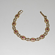 14K Gold Linked Ladies Bracelet with Ruby Stones, Vintage