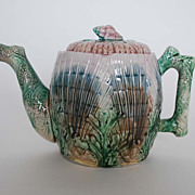 Antique: Etruscan Majolica Teapot, Shell & Seaweed Pattern, Griffen, Smith & Hill