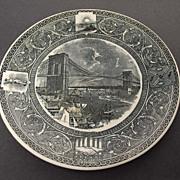 Antique Ironstone Transfer Plate – Brooklyn Bridge – Mayer Bros.