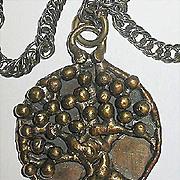 "SALE HTF Brutalist Designed Bronzed 27"" Necklace w Amazing Pendant"