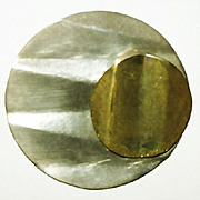 SALE Stunning Vintage Mexican Sterling Silver & Brass Modernist Brooch