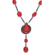 SALE Modernist Chrome Red Galalith & Glass Bead Necklace