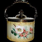 SALE Beautiful Mt. Washington Floral Decorated Biscuit Jar