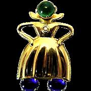 SALE Coro Sterling Silver Gold Vermeil Dutch Girl Pin