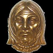 SALE Vintage Joseff of Hollywood Gilt Finished Face Brooch