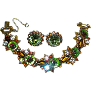 SOLD Amazing Florenza Rivoli Bejeweled Link Bracelet & Matched Earrings