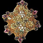 SALE Original by Robert Pink, Purple Rhinestone & Seed Pearl Brooch