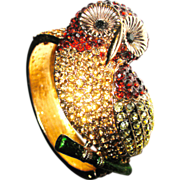 SALE 1/2 Off Dazzling Vintage Bejeweled Figural Owl Bangle