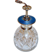 SALE Sterling Silver Blue Guilloche Perfume Atomizer--free shipping