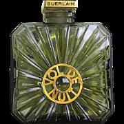 """SALE Large Guerlain """"Vol de Nuit"""" Perfume Bottle w Goldtone Metal Label & Stopper"""