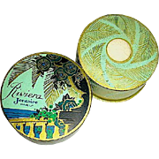 "SALE Gorgeous French 30's Riviera"" Face Powder and Mini, Outer Box"