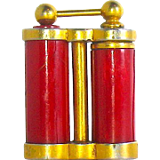 30's Miniature Art Deco Celluloid and Gold Plated DeVilbiss Purse Atomizer