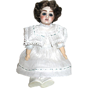 French Bisque Head Cabinet Doll in Crisp Organdy Dress