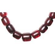 SALE Vintage Translucent Cherry Amber Barrel Shape Beaded Necklace--80 grams