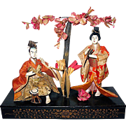SALE Japanese Gofun Empress and Emperor Dolls, Meiji Period