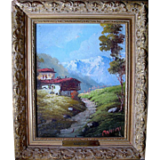 SALE Listed 19th C. Artist Carlo Mancini Mountain Landscape Oil Painting
