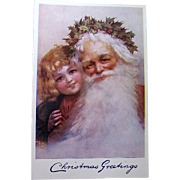 SOLD Perfect Tuck Early Christmas Postcard—Santa Claus with Girl Portrait