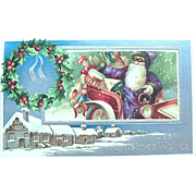 SOLD 1910 German Christmas Postcard—Jolly Santa Claus Delivering Toys