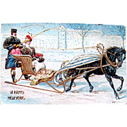 SOLD Rare Unused New Year Postcard—Russian Horse Drawn Sleigh