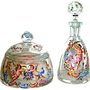 Elegant Czech Marked Cherub Decorated Vanity Set
