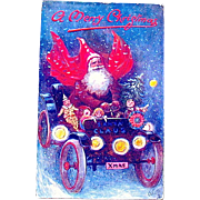 SOLD Tuck Oilette Christmas Postcard—Wild Looking Santa Claus in Antique Auto